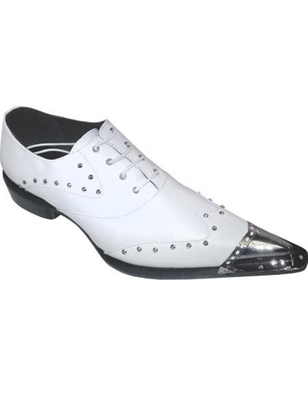 Men's Stylish White Leather Upper Lace-up Oxford Snip Toe Authentic Zota Brand