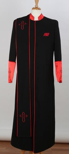 Mens Black/Red Big & Tall Church Cross Accent Robe With Stole Mandarin Suits