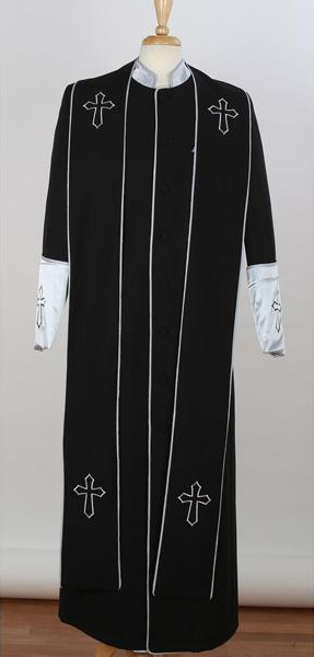 Mens Big & Tall Church Cross Accent Robe With Stole Mandarin Suits Black/Silver