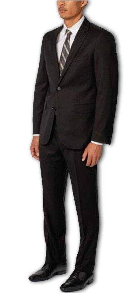 Enzo Tovare Authentic Brand Men's Black Single Breasted Notch Lapel 1 Wool Double Vent Two Piece Suit