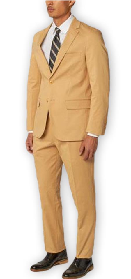 Enzo Tovare Authentic Brand Men's Single Breasted Notch Lapel 1 Cotton Double Vent Two Piece Khaki Suit
