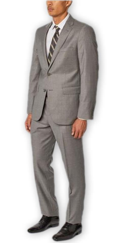 Alberto Nardoni Authentic Brand Mens Single Breasted Notch Lapel 100% Wool Double Vent Two Piece Grey Suit