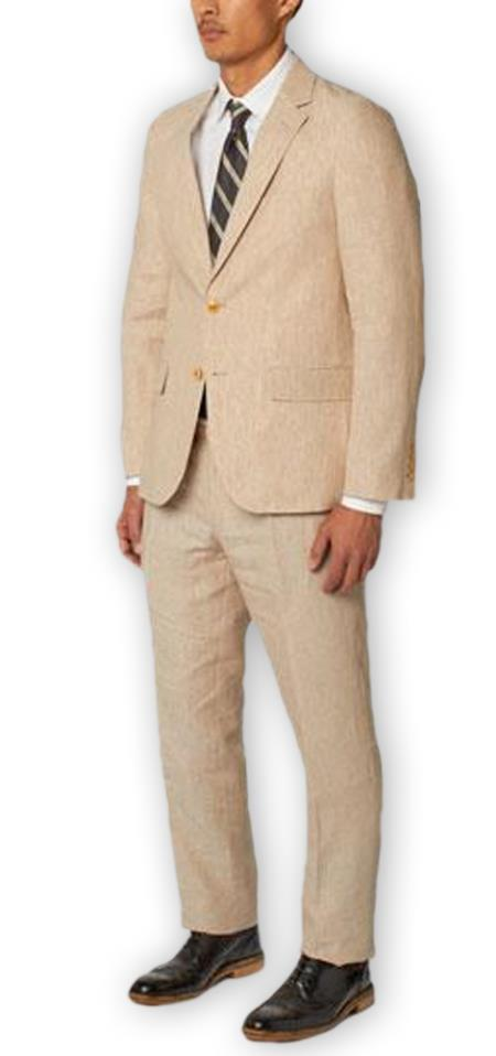 Alberto Nardoni Authentic Brand Mens Natural Single Breasted Notch Lapel 100% Linen Double Vent Two Piece Suit