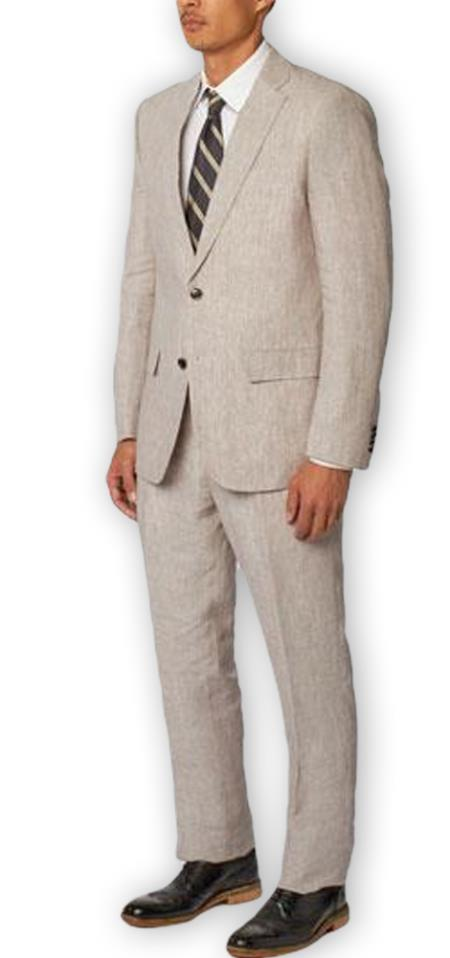 Alberto Nardoni Authentic Brand Mens Single Breasted Notch Lapel 100% Linen Double Vent Two Piece Gray Suit