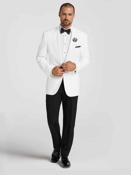 1950s Men's Clothing White Dinner Jacket Blazer Sport coat Tuxedo Shirt BowTie Black Pants $225.00 AT vintagedancer.com
