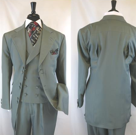 Landi 2917v Mens Grey 6 Paired Buttons Wide Notch Lapel Matching Vested Suit