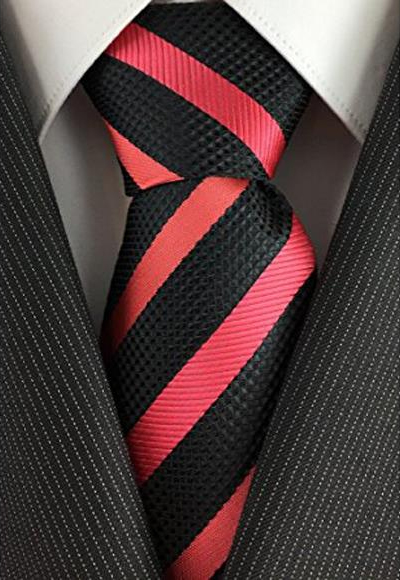 Mens Woven Black with Salmon ~ Coral Pink color Skinny Necktie