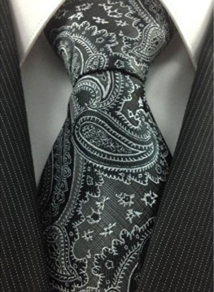 Men's Necktie Woven Polyester Black Grey with white fancy Paisley Fashionable Design Tie