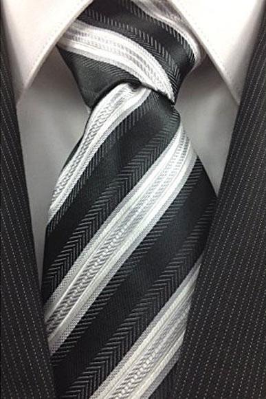 Mens Necktie Black White and Silver Classic Pinstripe Design Fashion Tie