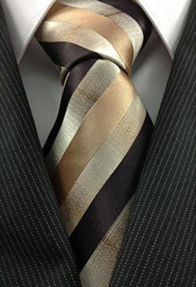 Mens Necktie Woven Natural Gradient Gold Bronze ~ Camel  Unique Pattern Tie