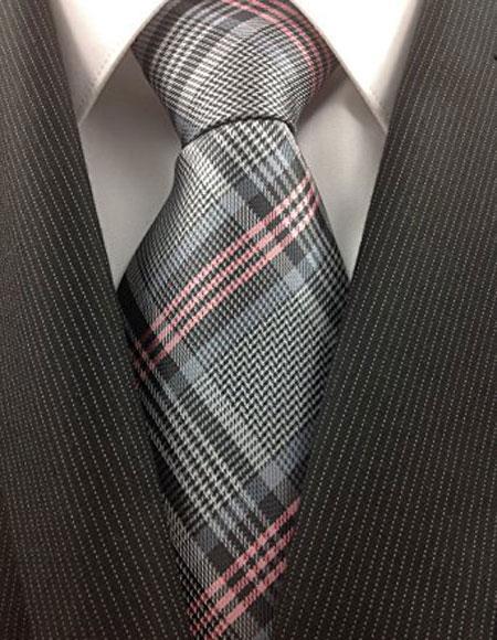 Buy CH644 Men's Fashionable Necktie Woven Grey Silver Pink Classic Plaid Fashion Design Tie