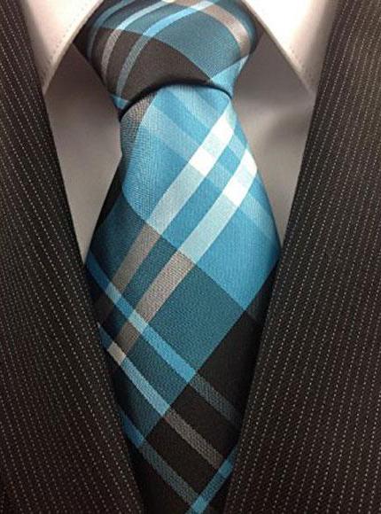 Buy CH645 Men's Necktie Woven Polyester Blue Teal Classic Plaid Fashion Design Tie