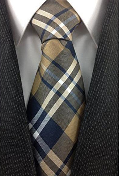 Men's Classic Plaid Fashion Design Tie Polyester Brown Tan White and Navy Necktie