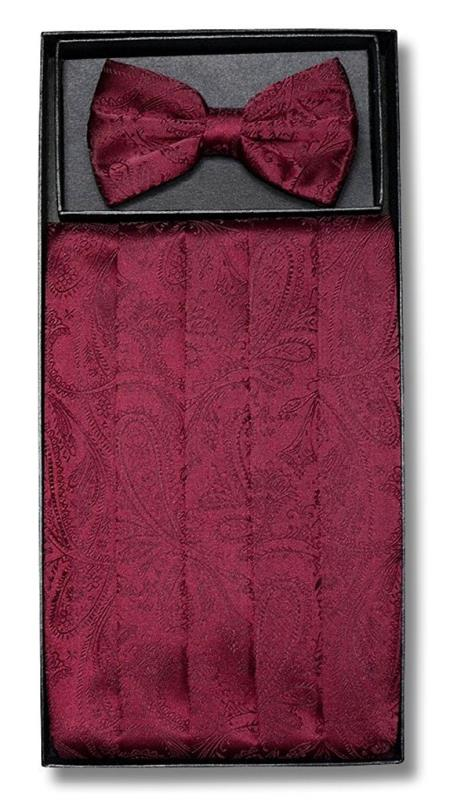 New Vintage Tuxedos, Tailcoats, Morning Suits, Dinner Jackets Mens Polyester Bowtie  Matching Cummerbund Burgundy Paisley Design $39.00 AT vintagedancer.com