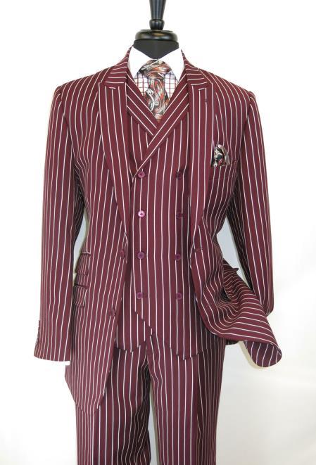 Buy SM3761 E.J.Samuel Men's 2 Button Pinstripe Peak Lapel Double Breasted Vest Burgundy Suit