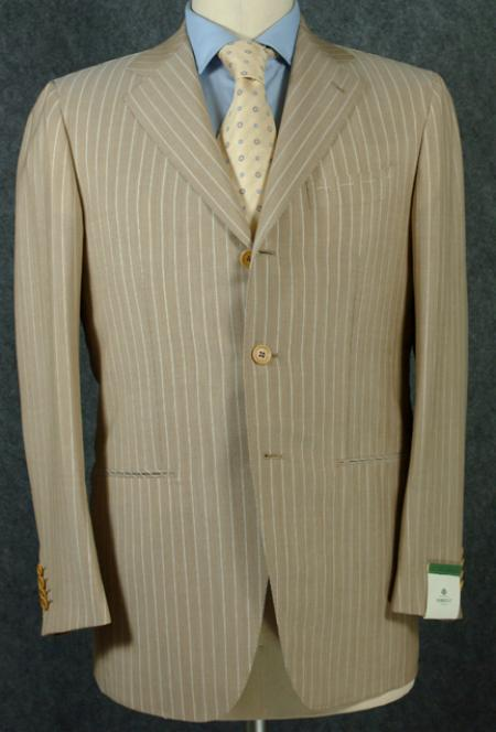 SKU#3B5P Beige Pinstripe Premier Quality Super 140 Wool Available In 2 Button Style Jacket $175