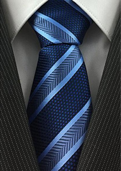Mens Standard Necktie Navy and Baby Blue Pearl Simple Width Tie