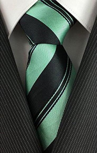 Mens Skinny Necktie Black with Mint Peal  Pinstripe Slim Tie