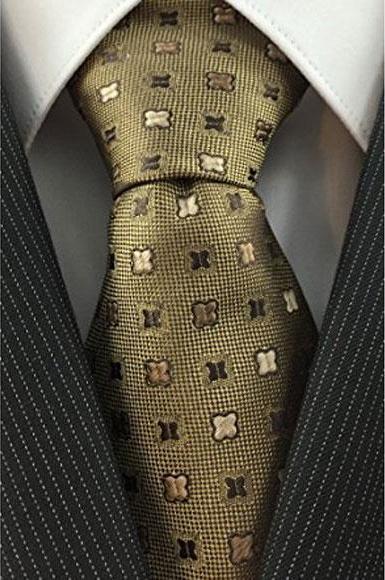 Mens Skinny Necktie Iridescent Brown Woven with Geometric Accent Trendy Tie