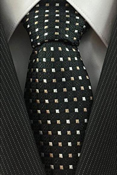 Mens Black & Beige Necktie Woven Accent high Fashion Tie