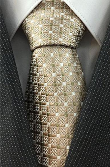 Mens Grid Pattern Necktie Woven Beige with White Accents Fashion Tie