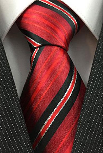 Mens Necktie Red Black White with Tinsel Pinstripe Woven Fashion Tie
