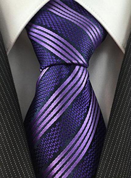 Mens Necktie Purple Textured Woven Fashion Tie