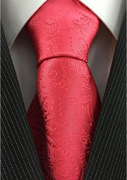 Mens Necktie Salmon ~ Coral Pink color with Fancy Tonal Paisley Woven Fashion Tie
