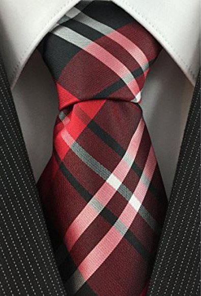 Mens Necktie Red Black and White Woven Plaid Pattern Classic Tie