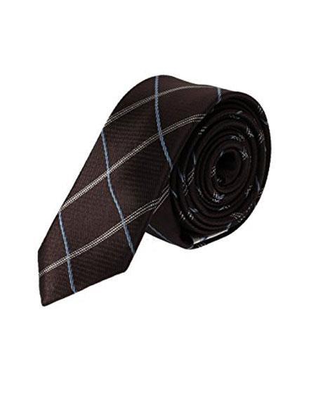 Buy CH687 Men's Skinny Necktie Woven Brown Blue Plaid Fashion Slim Tie