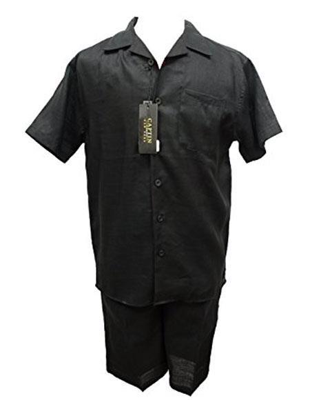SKU#SM865 Ocean Blue 100% Linen Men's Pleated Inserch/Merc Flat Front Shorts