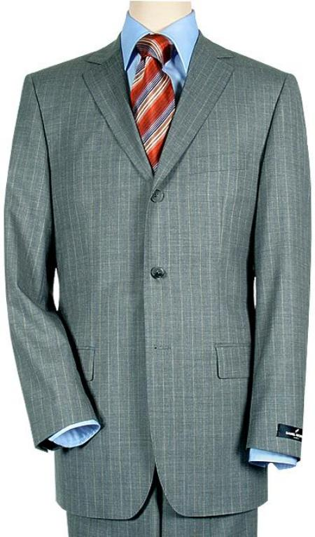 SKU# ZT37 3 Buttons premier quality italian fabric Mens 3 Buttons Light Gray Pinstripe Super 140s $175