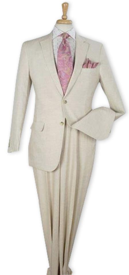 Mens Regular Fit Single Breasted Natural 100% Linen Two Piece Suit Flat Front Pants