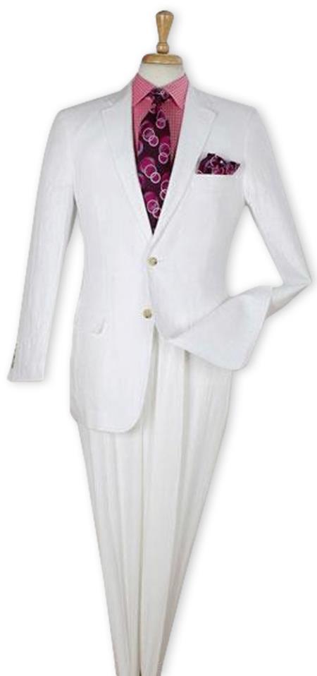 Men's White  100% Linen Two Piece Regular Fit Suit Flat Front Pants