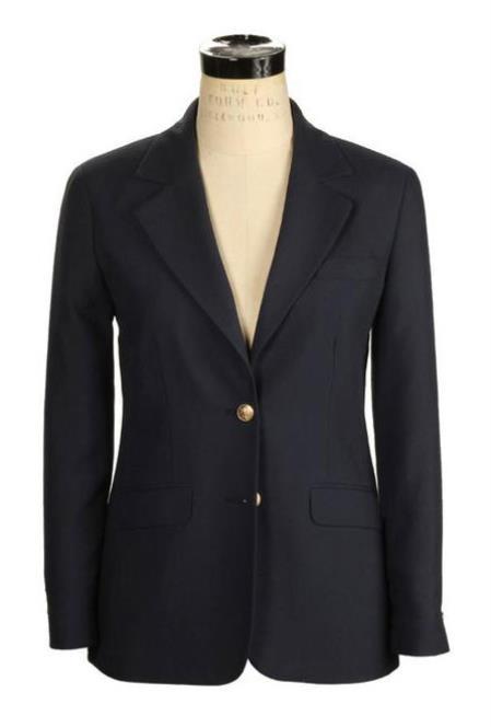 Buy SM3828 Women's 2 Button Belle Wrinkle Resistant Hopsack Made USA Navy Blazer