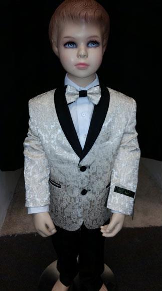 Kids Children Boys Tuxedo Paisley Two toned Cream Blazer Looking