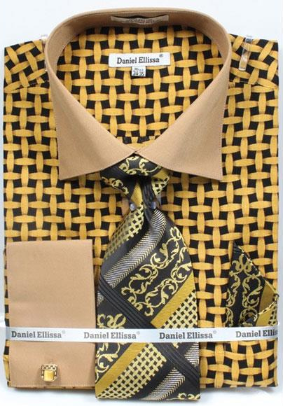 Buy CH750 Men's Daniel Ellissa Bright Net Pattern Two Tone French Cuff Black/Mustard Dress Shirt Big Tall Sizes Two Toned Contrast