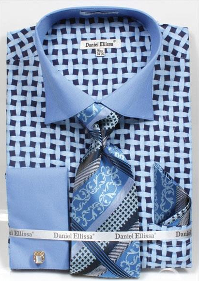 Buy CH751 Men's Daniel Ellissa Blue Bright Net Pattern Two Tone French Cuff Dress Shirt Big Tall Sizes Two Toned Contrast