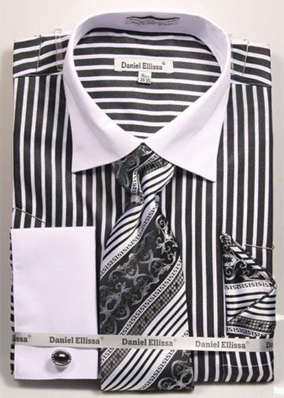 Buy CH760 Men's Daniel Ellissa Stripe Pattern Two Tone French Cuff Black Dress Shirt White Collar Big Tall Sizes Two Toned Contrast