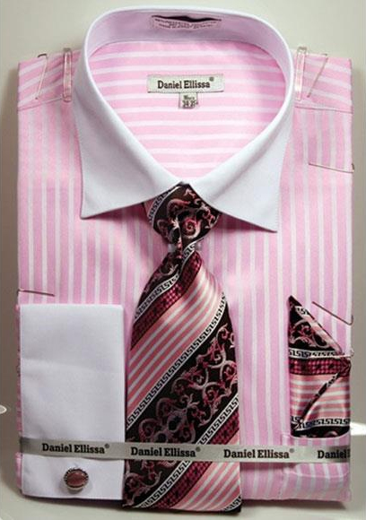 Daniel Ellissa Pink Stripe Pattern Two Tone French Cuff Dress White Collar Big and Tall Sizes Two Toned Contrast 18 19 20 21 22 Inch Neck Mens Dress Shirt