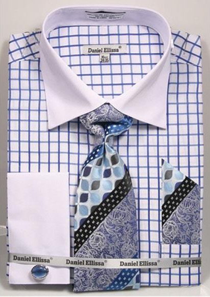 Buy CH765 Men's Daniel Ellissa Checked Pattern Two Tone French Cuff Blue Dress Shirt White Collar Big Tall Sizes Two Toned Contrast