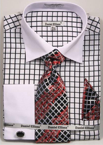Daniel Ellissa Black Checked Pattern Two Tone French Cuff White Collar Big and Tall Sizes Two Toned Contrast 18 19 20 21 22 Inch Neck Mens Dress Shirt