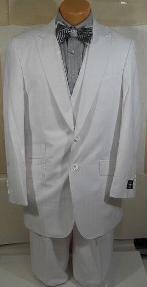 Mens White Shadow Stripe ~ Tone on Tone Peak Lapel Wide Leg Pants Vested Suit + Double breasted Style Vest Ticket Pocket