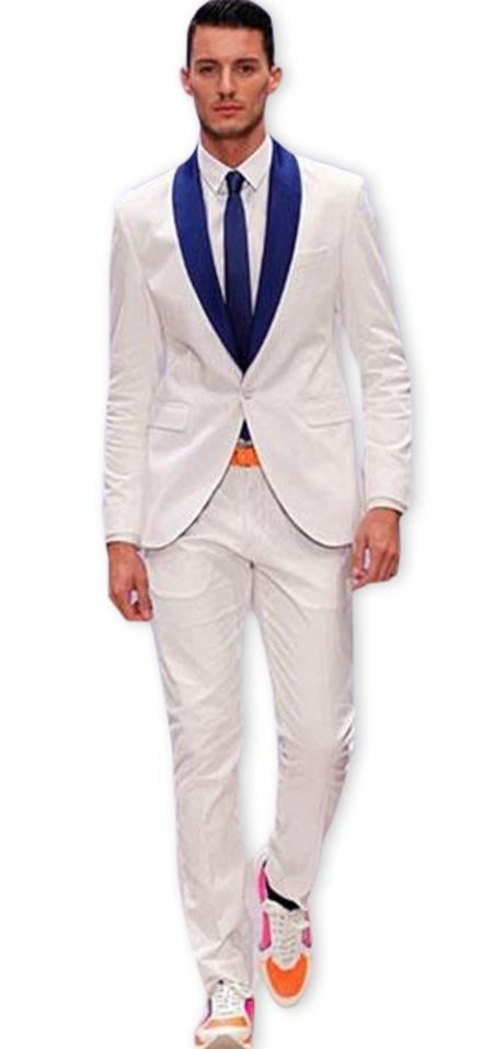 Mens White Dark Navy Blue Or Royal Blue Shawl Lapel Tuxedo Wedding / Prom Fashion Two Toned Dress Suits for Men Jacket & Pants