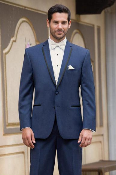 Mens High Fashion Two Buttons Satin Notch Lapel Wool Modern Slim Fit Slate Blue Suits