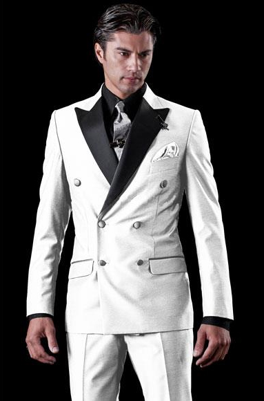 Men S Double Breasted Tuxedo Two Toned White Wool Suit