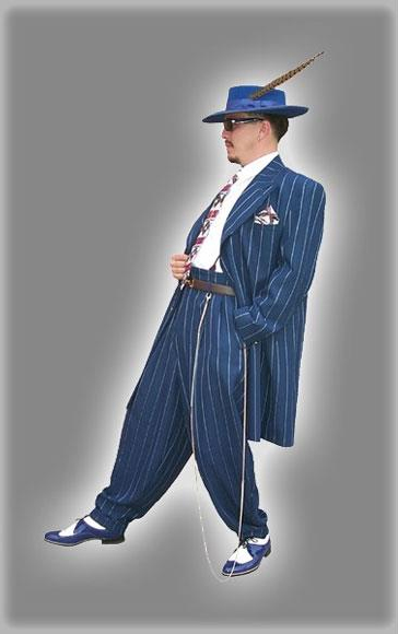 WTXZoot200 2020 New Formal Style Royal Blue Pinstripe ~ Stripe Fashion Long Zoot Dress Suits for Men