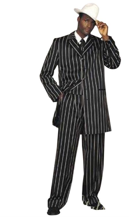 WTXZoot200 Mens Black High Fashion Single Breasted Bold Pronounce White Pinstripe Three Piece Zoot Suit Advanced Pre Order To Ship November / 15 / 2019