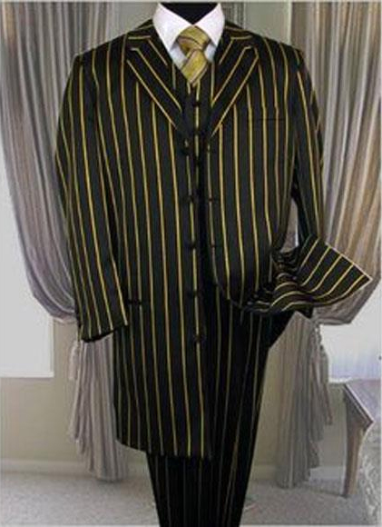 Men's Black Bold Pronounce Yellow Pinstripe ~ Gold ~ Mustard Stripe Three
