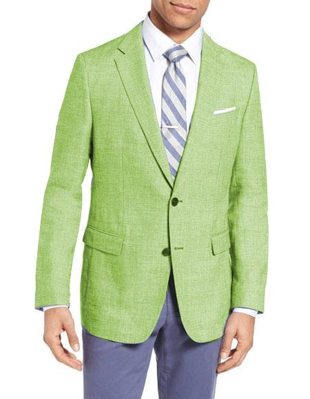 1960s Men's Clothing Mens Single Breasted 2 Buttons Wool Linen Apple Green Slim Fit Blazer $149.00 AT vintagedancer.com